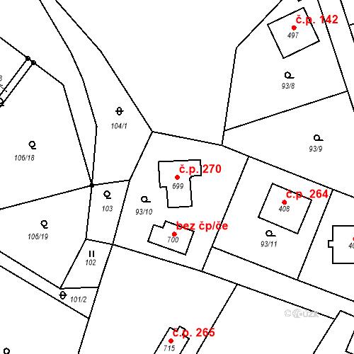 Katastrální mapa Stavební objekt Doubravčice 270, Doubravčice