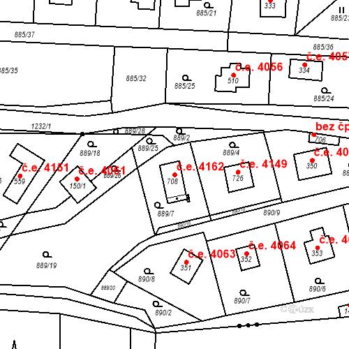 Katastrální mapa Stavební objekt Černé Voděrady 4162, Černé Voděrady