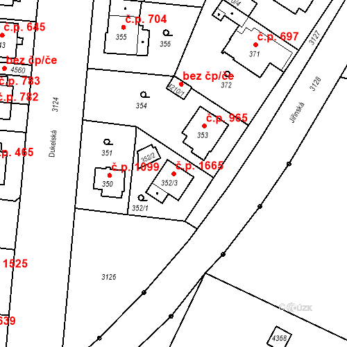 Katastrální mapa Stavební objekt Čelákovice 1665, Čelákovice