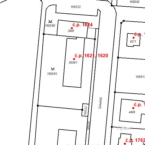 Katastrální mapa Stavební objekt Čelákovice 1620, 1621, Čelákovice