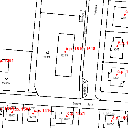 Katastrální mapa Stavební objekt Čelákovice 1618, 1619, Čelákovice