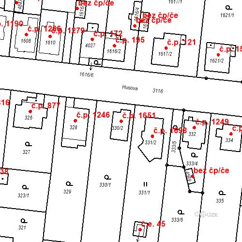 Katastrální mapa Stavební objekt Čelákovice 1651, Čelákovice