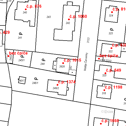Katastrální mapa Stavební objekt Čelákovice 1615, Čelákovice