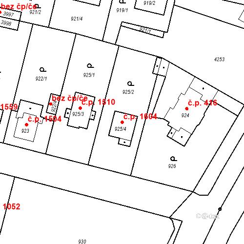 Katastrální mapa Stavební objekt Čelákovice 1604, Čelákovice