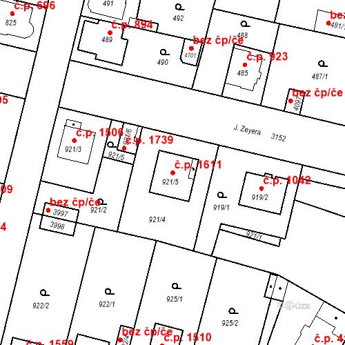Katastrální mapa Stavební objekt Čelákovice 1611, Čelákovice