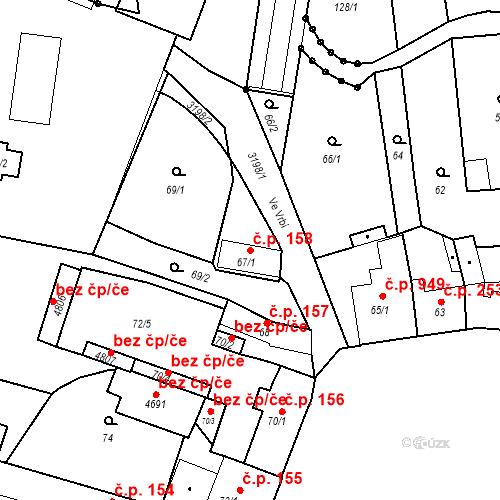 Katastrální mapa Stavební objekt Čelákovice 158, Čelákovice