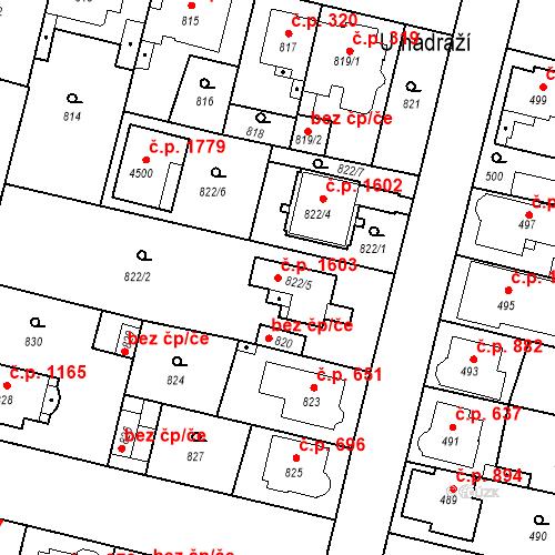 Katastrální mapa Stavební objekt Čelákovice 1603, Čelákovice