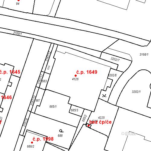 Katastrální mapa Stavební objekt Čelákovice 1649, Čelákovice