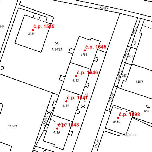 Katastrální mapa Stavební objekt Čelákovice 1646, Čelákovice