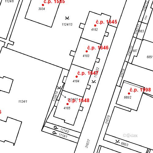 Katastrální mapa Stavební objekt Čelákovice 1647, Čelákovice