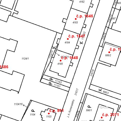 Katastrální mapa Stavební objekt Čelákovice 1648, Čelákovice