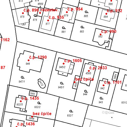 Katastrální mapa Stavební objekt Čelákovice 1605, Čelákovice