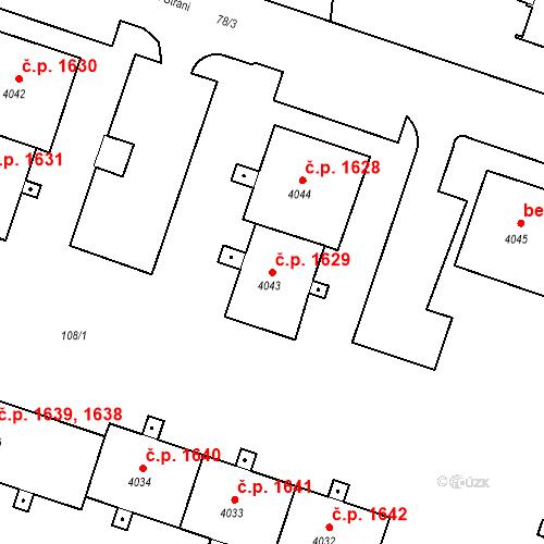 Katastrální mapa Stavební objekt Čelákovice 1629, Čelákovice