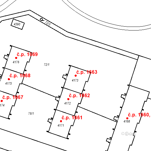 Katastrální mapa Stavební objekt Čelákovice 1663, Čelákovice