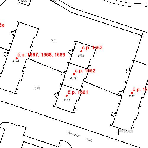 Katastrální mapa Stavební objekt Čelákovice 1662, Čelákovice