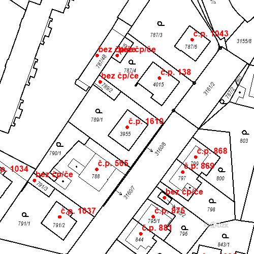 Katastrální mapa Stavební objekt Čelákovice 1610, Čelákovice