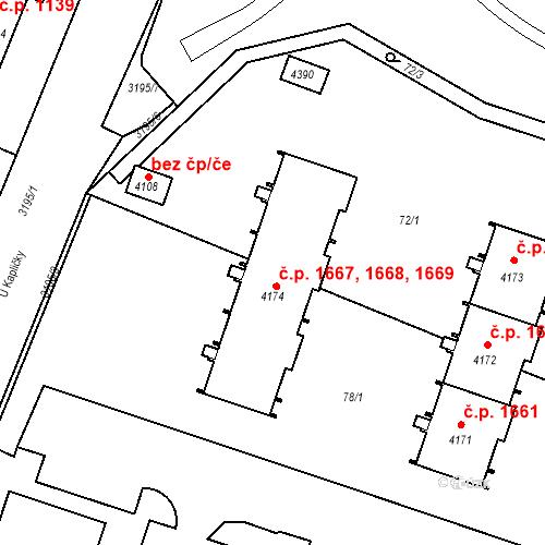 Katastrální mapa Stavební objekt Čelákovice 1668, Čelákovice