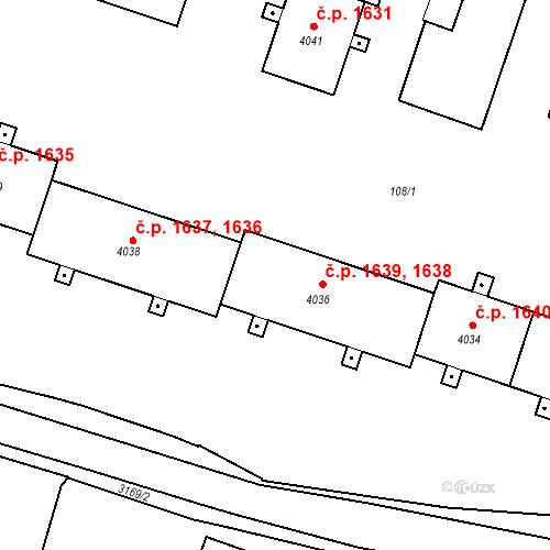 Katastrální mapa Stavební objekt Čelákovice 1638, Čelákovice