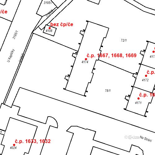 Katastrální mapa Stavební objekt Čelákovice 1667, Čelákovice