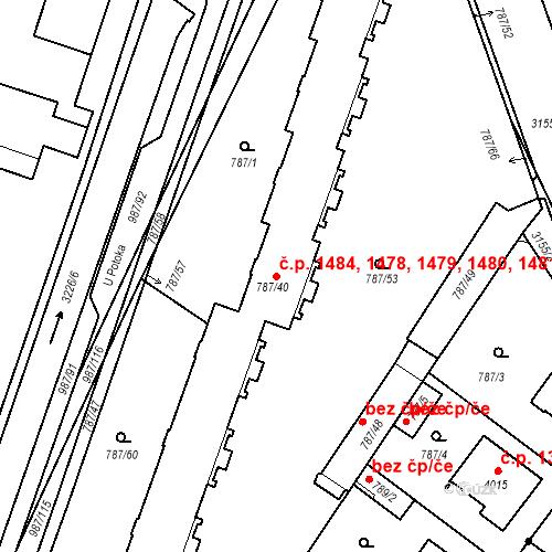 Katastrální mapa Stavební objekt Čelákovice 1478, 1479, 1480, 1481, 1482, Čelákovice