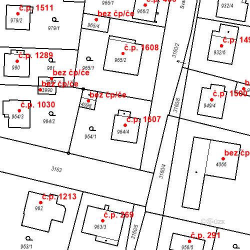Katastrální mapa Stavební objekt Čelákovice 1607, Čelákovice