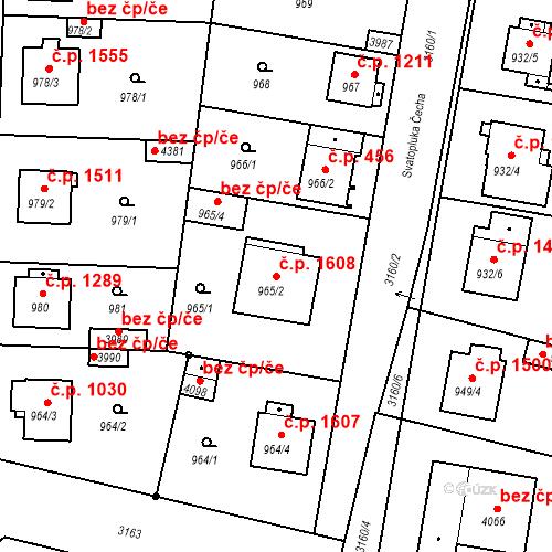 Katastrální mapa Stavební objekt Čelákovice 1608, Čelákovice