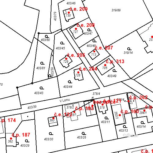 Katastrální mapa Stavební objekt Vyžlovka 204, Vyžlovka
