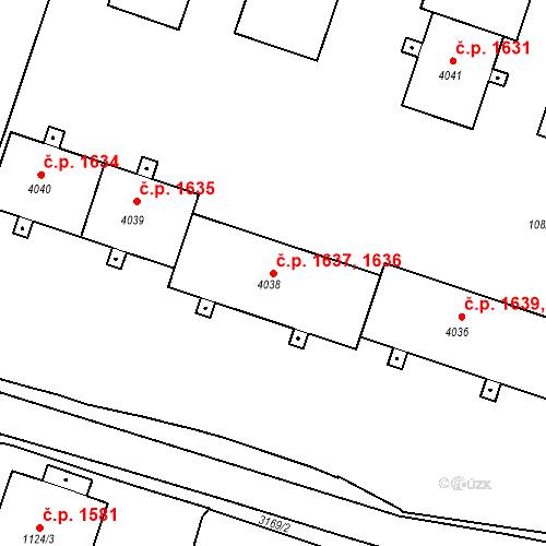 Katastrální mapa Stavební objekt Čelákovice 1636, Čelákovice