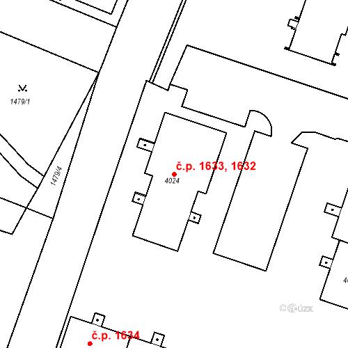 Katastrální mapa Stavební objekt Čelákovice 1632, 1633, Čelákovice
