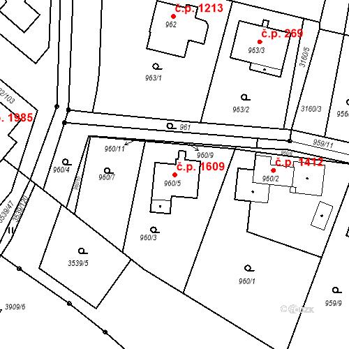 Katastrální mapa Stavební objekt Čelákovice 1609, Čelákovice