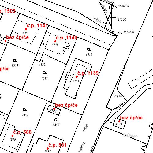 Katastrální mapa Stavební objekt Čelákovice 1139, Čelákovice