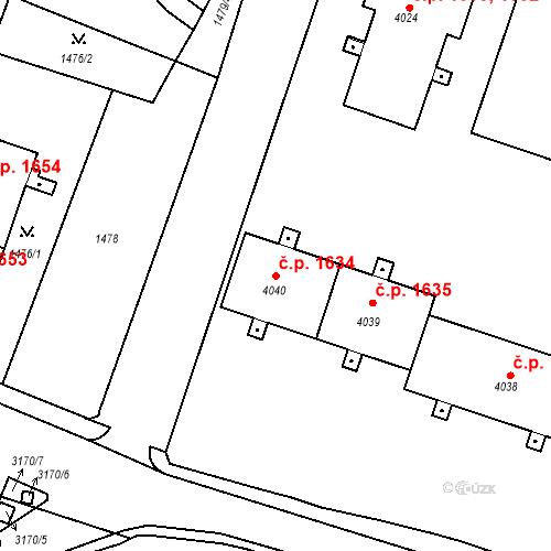 Katastrální mapa Stavební objekt Čelákovice 1634, Čelákovice