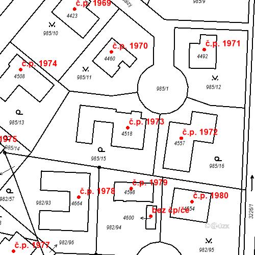 Katastrální mapa Stavební objekt Čelákovice 1973, Čelákovice