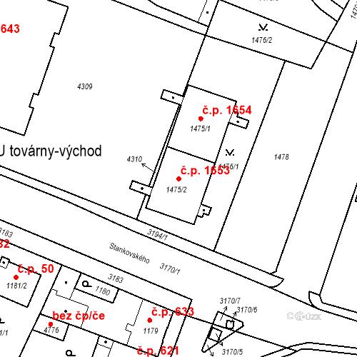 Katastrální mapa Stavební objekt Čelákovice 1653, Čelákovice