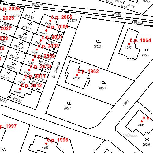 Katastrální mapa Stavební objekt Čelákovice 1962, Čelákovice