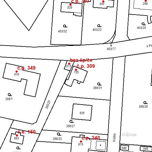 Katastrální mapa Stavební objekt Vyžlovka 309, Vyžlovka