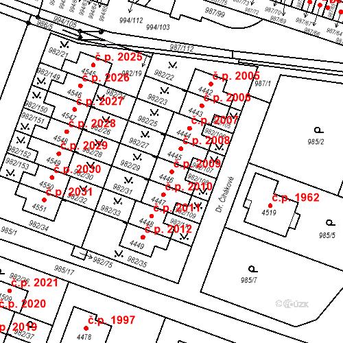 Katastrální mapa Stavební objekt Čelákovice 2009, Čelákovice