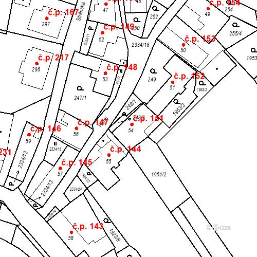 Katastrální mapa Stavební objekt Deštná 151, Deštná