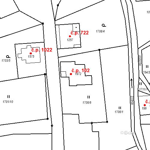 Katastrální mapa Stavební objekt Starý Jiříkov 102, Jiříkov