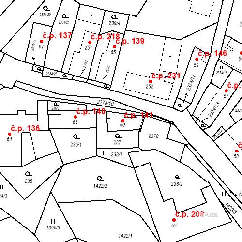 Katastrální mapa Stavební objekt Deštná 141, Deštná