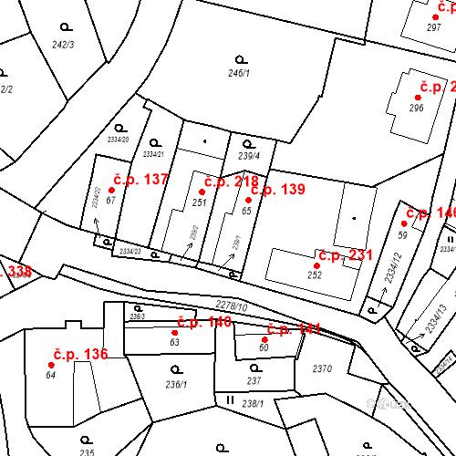 Katastrální mapa Stavební objekt Deštná 139, Deštná