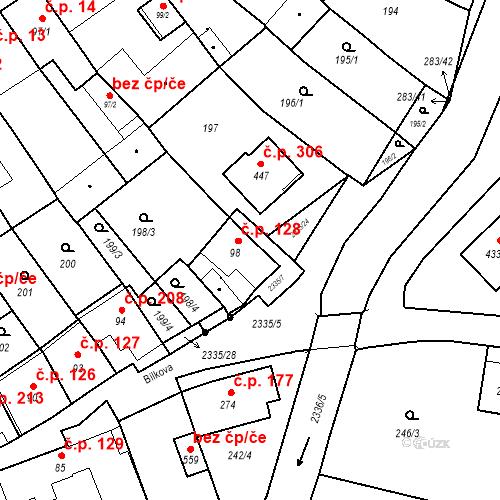 Katastrální mapa Stavební objekt Deštná 128, Deštná