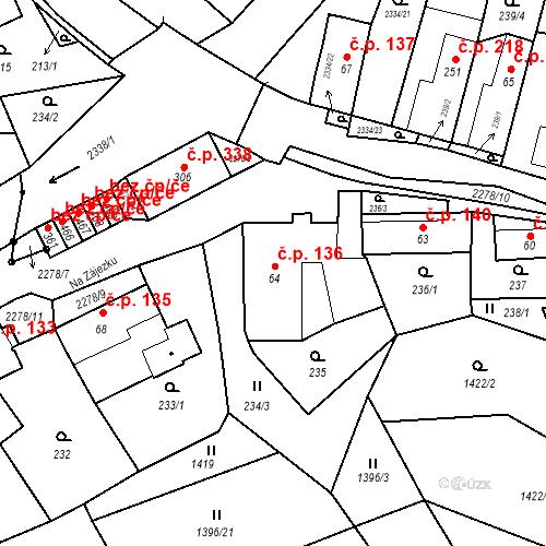 Katastrální mapa Stavební objekt Deštná 136, Deštná