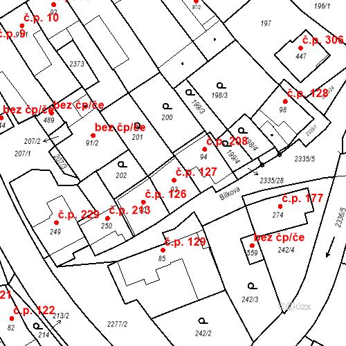 Katastrální mapa Stavební objekt Deštná 127, Deštná
