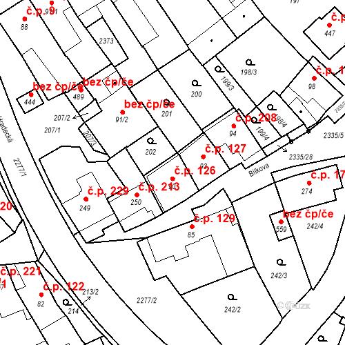 Katastrální mapa Stavební objekt Deštná 126, Deštná