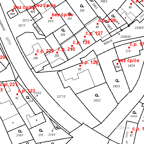 Katastrální mapa Stavební objekt Deštná 129, Deštná