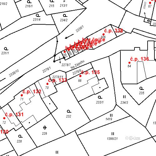 Katastrální mapa Stavební objekt Deštná 135, Deštná