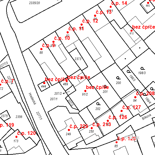 Katastrální mapa Stavební objekt Deštná 125, Deštná