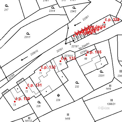 Katastrální mapa Stavební objekt Deštná 133, Deštná