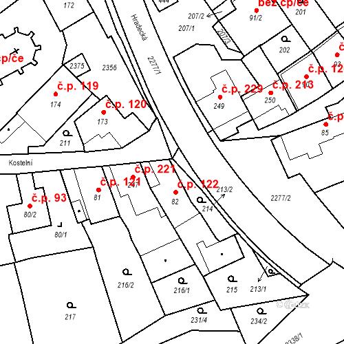 Katastrální mapa Stavební objekt Deštná 122, Deštná